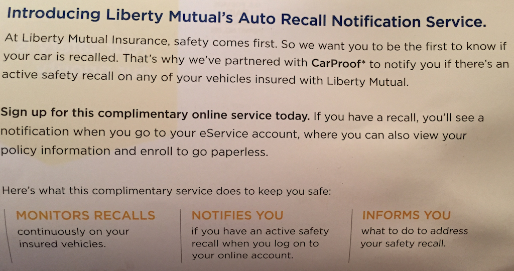Recall notice from Liberty mutual Insurance company