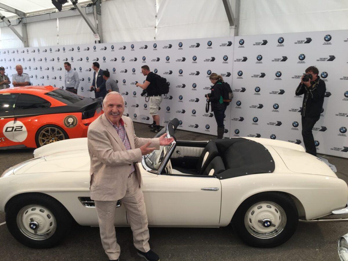 Bill Hetzler with Elvis Presley's BMW 507