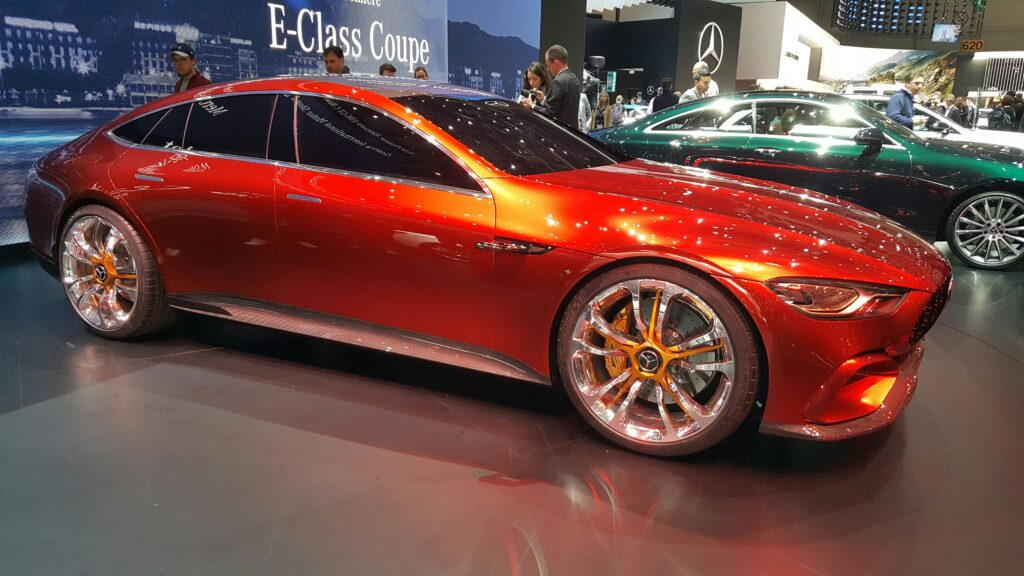 Mercedes-Benz AMG GT Concept The quietest AMG yet. I wonder how Porsche will feel about the styling? courtesy Ian Beavis at Geneva Auto Show