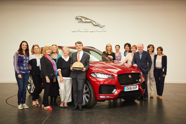 Jaguar wins Women's World Car of the Year (WWCOTY) with Ralf Speth and Ian Callum and Fiona Pargeter