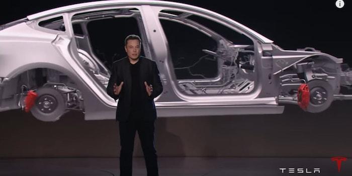 Tesla Unveils Model 3 with CEO Elon Musk electric sedan