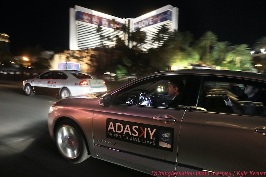 """Adasky sales director Raz Peleg demonstrates their thermal imaging technology while driving on """"the strip"""" in Las Vegas during a press event at CES 2020. Photo by J. Kyle Keener"""