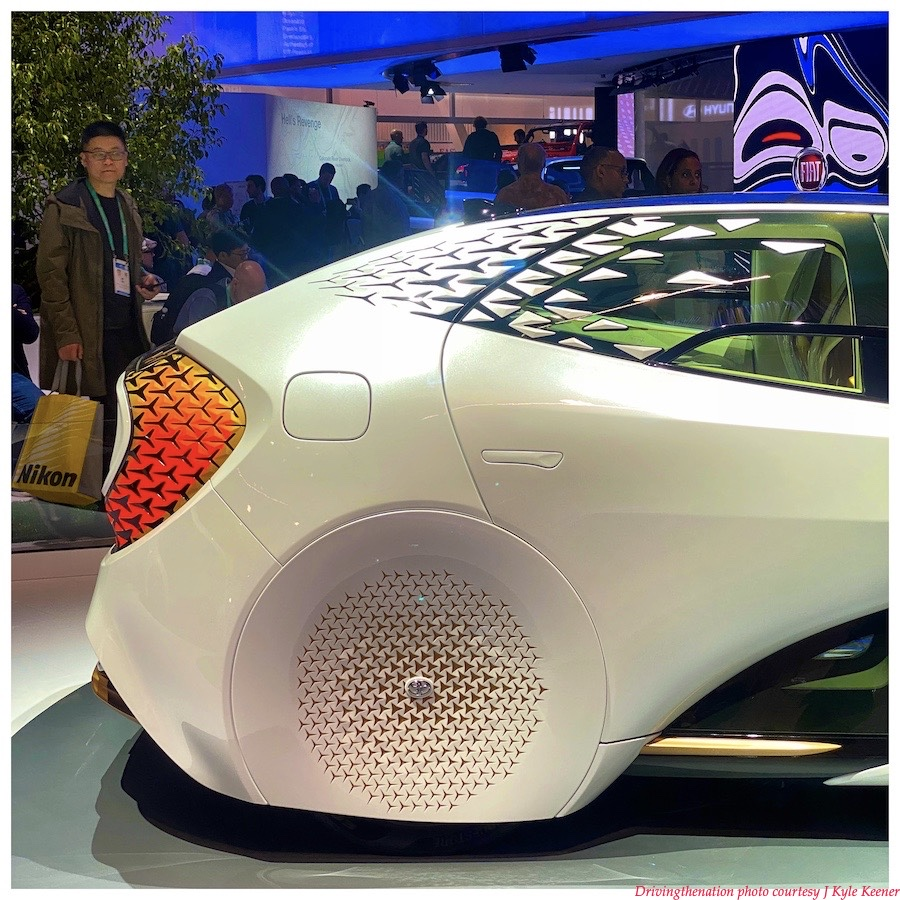 The real quarter panel of the Toyota LQ advanced technology vehicle at their booth at CES 2020, in Las Vegas, Nevada, this past week. Photo by J. Kyle Keener