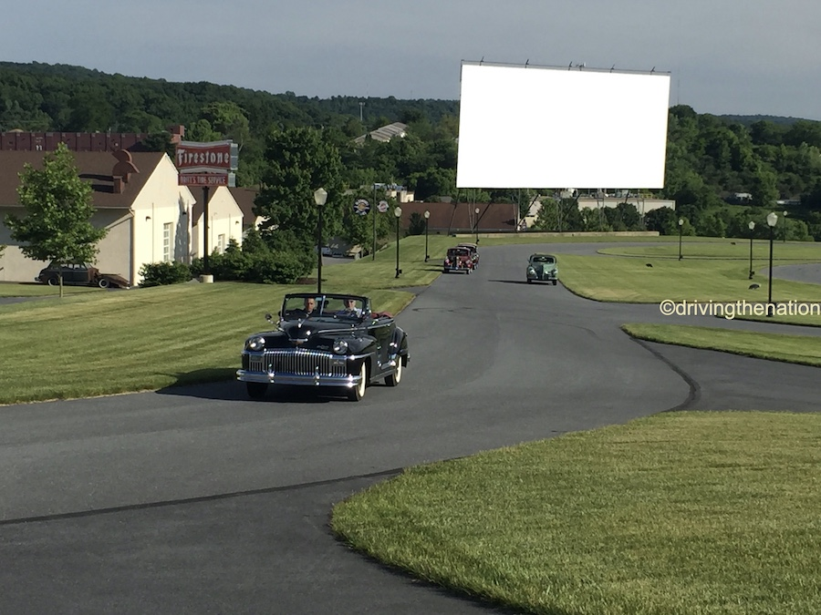 The NB Center for American Automotive Heritage drive-in theater in the background