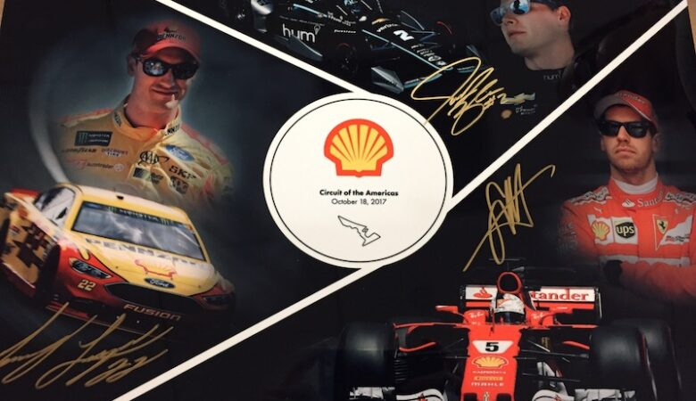 autographed picture of Joey Logano, Josef Newgarden, and Sebastian Vettel