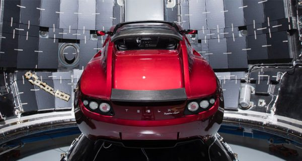 Tesla Roadster in the SpaceX Falcon Heavy going to Mars