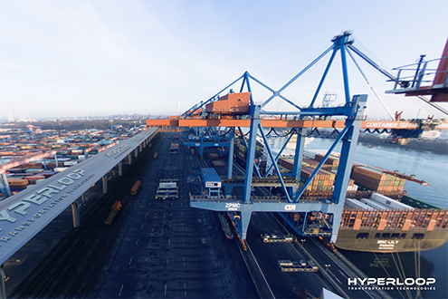 HHLA and Hyperloop develop a vision, how to transport containers at high speed through a tube to and from the Port of Hamburg.