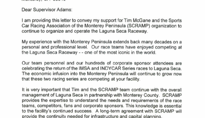 Letter of support for SCRAMP from Roger Penske