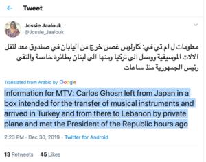 twitter-ghosn-300x237 Carlos Ghosn flees Japan for Lebanon Nissan Politics Renault