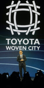 Toyota Motor Corporation President and CEO Akio Toyoda takes the stage at a press conference Monday afternoon January 6, 2020, during press briefing day at the Consumer Electronics Show, in Las Vegas, Nevada. He announced the planned development of their Woven City, which will be built starting this year near Mt. Fuji, in Japan. The city will serve as a real-world lab for the development of a completely connected community. Photo by J. Kyle Keener