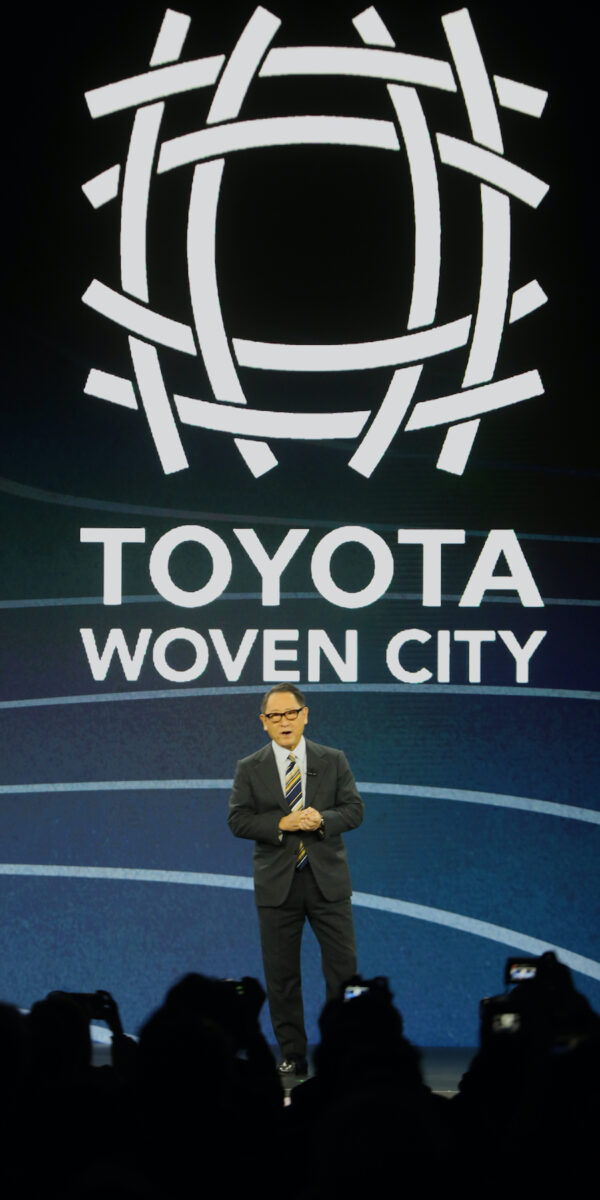Toyota Motor Corporation President and CEO Akio Toyoda takes the stage at a press conference Monday afternoon January 6, 2020, during press briefing day at the Consumer Electronics Show, in Las Vegas, Nevada. He announced the planned development of their Woven City, that will be built starting this year near Mt. Fuji, in Japan. The city will serve as a real world lab for the development of a completely connected community. Photo by J. Kyle Keener