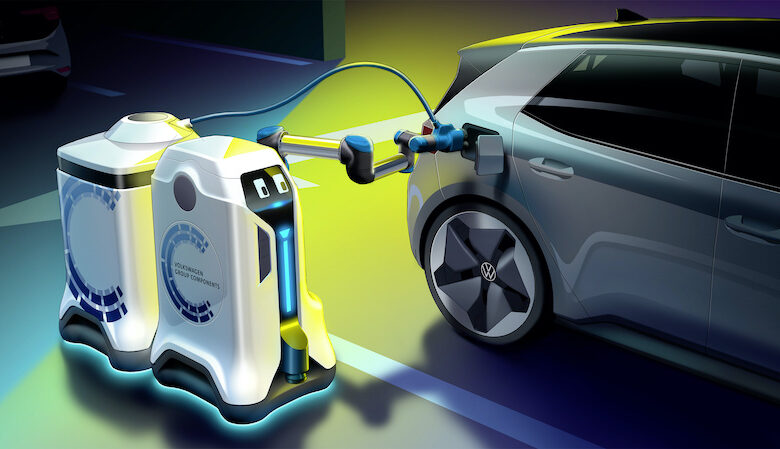 Volkswagen Group Components' mobile charging robot brings a trailer in the form of a mobile energy storage device to the vehicle.